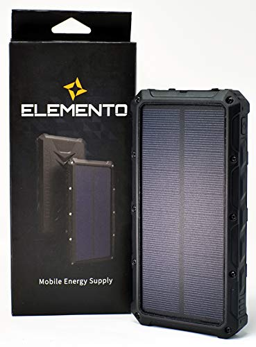 ELEMENTO Solar Charger Portable 16000mAh -Highly Durable Waterproof Power Bank 2 USB Ports For iPhone iPad Samsung HTC LED Flashlight for Camping Outdoor Travel External Battery Pack w/ 2 Free Bonuses