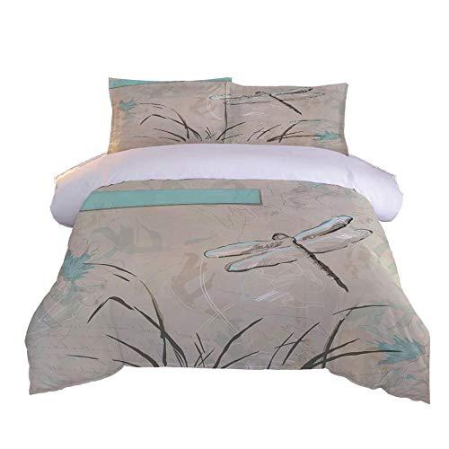 DADAF Juego de Funda de edredón para Cama Extragrande, algodón,libélula,Matrimonio Grande 155x220cm