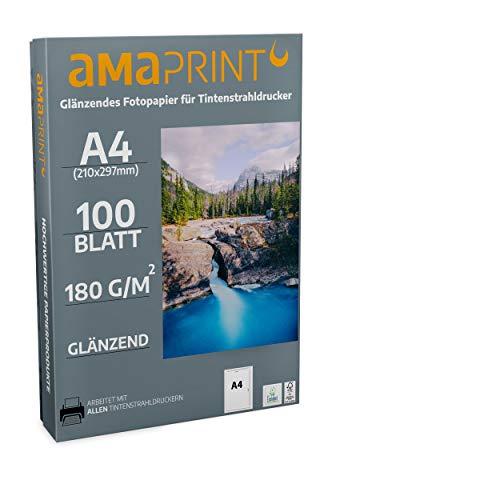 Amaprint 100 Blatt Fotopapier A4 glänzend 180g/m² für Tintenstrahldrucker - hochglänzend - wasserfest