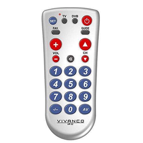 Vivanco UR Z2 2-in-1 universele TV/DVB-afstandsbediening met grote toetsen zilver