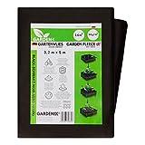 GARDENIX® 16 m² Tessuto Non Tessuto Anti Erbacce, Peso 50 g/m², Stabilizzazione UV, Nero (3,2m x 5m)