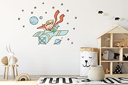 Vinilo decorativo infantil - El Principito, el zorro y el avión - Decoración de pared, vinilos decorativos