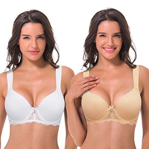 Curve Muse Women's Lightly Padded Underwire Lace Bra with Padded Shoulder Straps-2PK-WHITE,NUDE-46B