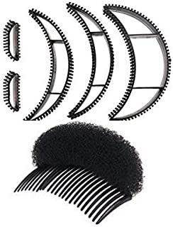 Hapy Shop 5 Pieces Big Bumpits Happie Hair Volumizing Inserts Hair and 1 Pieces Women Lady Girl Hair Styling Clip Braid Tool Hair Accessories