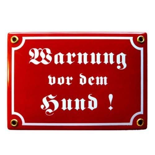 Emailschild WARNUNG VOR DEM HUND 12x17 cm Warnschild wetterfest | Schild Emaille