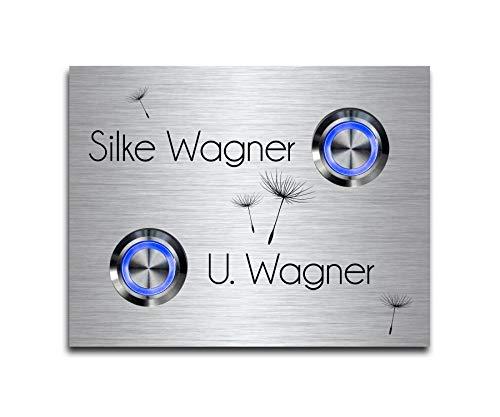 2 Fach Türklingel Doppel-klingel mit zwei Tastern und Namen Gravur Familienhaus Edelstahl Klingelplatte für 2 Familien 9x7 cm mit über 70 Motiven Modell: Wagner