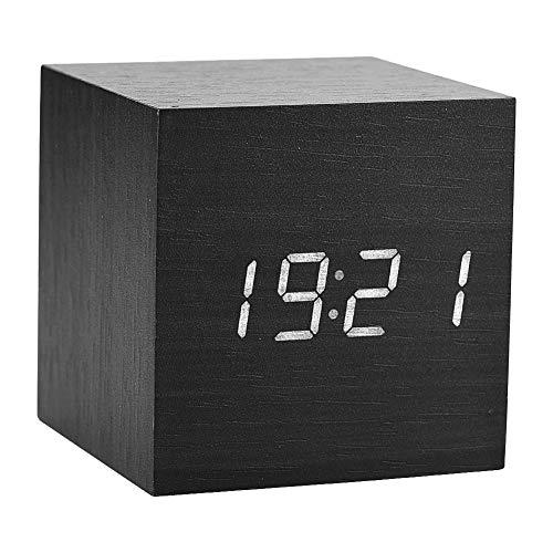 LED digitale wekker, houten klok voor slaapkamer modern houten kubus klok 3 niveaus helderheid temperatuur display met voice control (zwart)