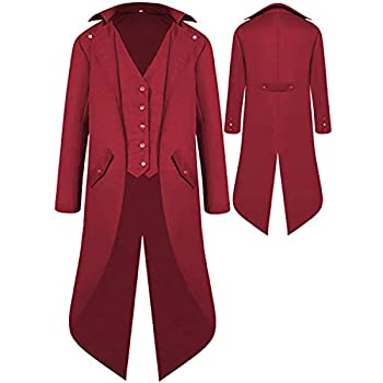 Mens Gothic Medieval Tailcoat Jacket Steampunk Vintage Victorian Frock High Collar Coat  XXL Wine Red