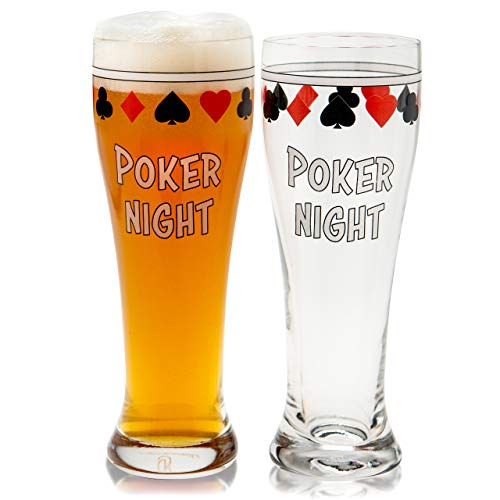 Bar Pint Glasses for Poker Gift Beer Set of 2 Drinking Cups for Home Man Cave Card Games Playing Card Suit Freezer Mugs 15oz Texas Holdem Casino Accessories Cool Stuff for Men