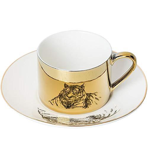 HRDZ - Taza de café con espejo de cerámica para té, platillo y pareja