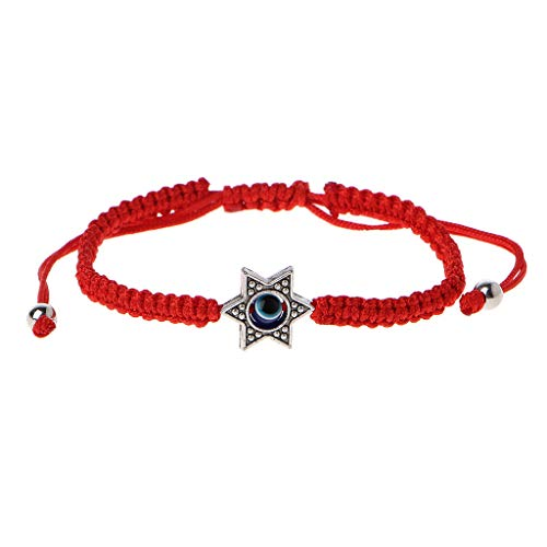 Cuigu - Pulseras de Hamsa de la suerte de cadena roja de Kabbale para mano de Fátima de ojo malvado de azul (A #)