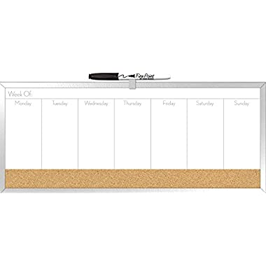 The Board Dudes 7.5  x 18  Combo Dry Erase Weekly Planner and Cork Board (DDY04)