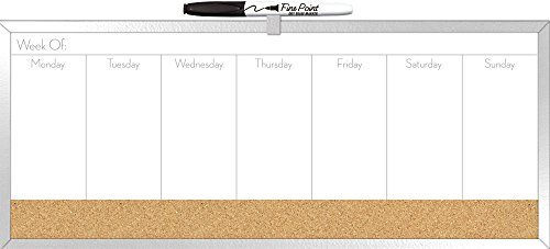 """The Board Dudes 7.5"""" x 18"""" Combo Dry Erase Weekly Planner and Cork Board (DDY04)"""