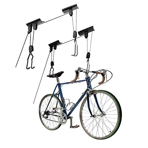 Great Working Tools Bike Hoists Set of 2, Hanging Ladder Lifts - Garage Ceiling Mount 55 lb Capacity Heavy Duty Hooks and Pulleys - Convenient Bicycle or Ladder Storage Hangers