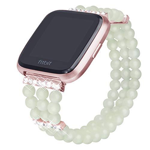 Somoder Bling Beaded Bandas Compatible con Fitbit Versa Mujeres Niñas, hecho a mano elástico noche luminoso pulsera de perlas con diamantes de imitación pequeño grande, M/L 6.4'- 7.5', Rose Gold/Green