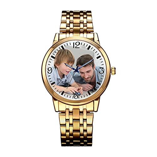 Relojes De Pareja Reloj Impermeable Relojes Personalizados Relojes con Foto Relojes Grabados Relojes De Hombre Relojes De Mujer Relojes De Aleación Padre
