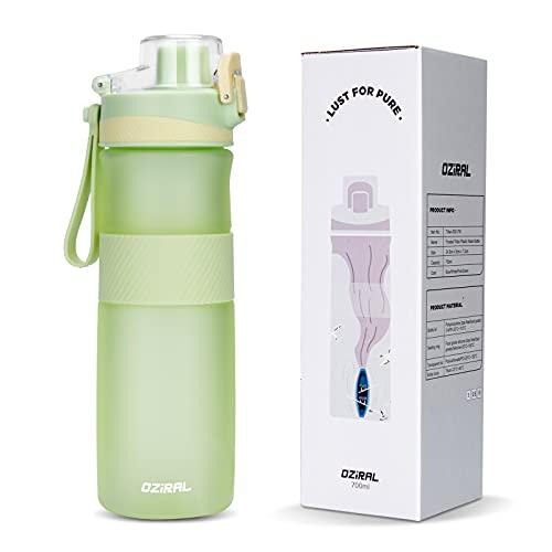 Oziral Botella de Agua Deportiva 700ML, Tritan Botella Agua Deporte Botella de Agua Sin BPA Que es Adecuada para Uso Al Aire Libre, Fitness, Escuela, Bicicleta,Uso Doméstico (verde)