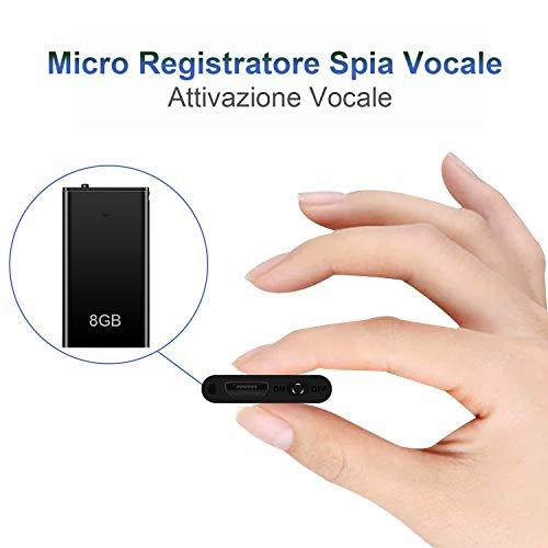 Mini Spia Registratore Vocale H+Y con Attivazione Vocale, Memoria da 8GB, Ricaricabile USB e funzioni MP3, Ideale per Lezioni, Riunioni, Interviste, Fino a 96 ore