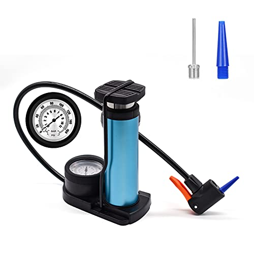XonyiCos Upgraded Bike Pump,160 PSI Mini Portable Bicycle Pump, Mini Foot Pump with Pressure Gauge, Double Valve Bicycle Air Pump for Bicycles, Motorcycles, Swimming Ring, Basketball (Blue)