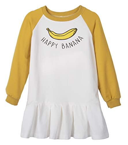 ContiKids Toddler Girls Clothes Long Sleeve Cotton Dresses School Skater Casual Tulle Print Collar Dress 5 Banana White