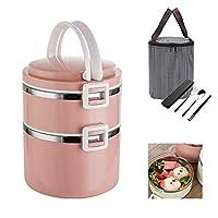 キッズスクールオフィスピクニック用保冷ランチバッグ用具304ステンレス鋼弁当漏れ防止弁当箱付き弁当箱,ピンク,2
