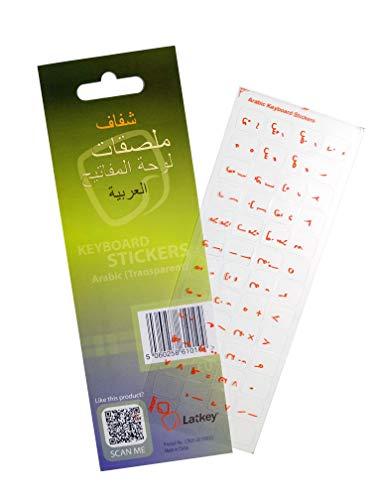 Arabischer Tastatur-Aufkleber für Mac, PC Computer, Laptop, MacBook (Tastatur Aufkleber mit dem roten Buchstaben auf transparenten Hintergrund klar, Tastaturabdeckung Alternative zu Lernen Arabisch)