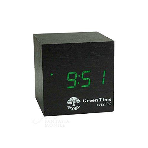 Despertador Green Time Reloj Mesa LED Clock Negro Color wengué Wood Style zwc120a