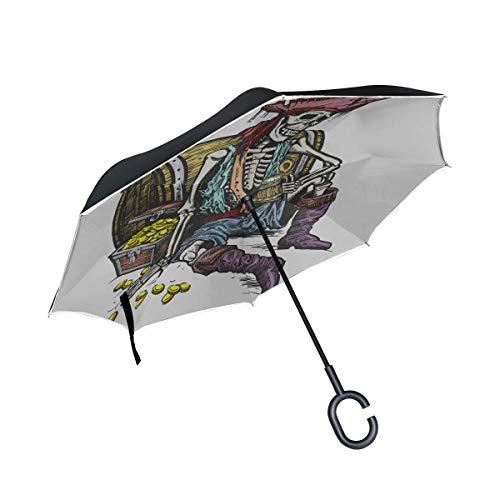 Silla Plegable Invertida de Doble Capa Paraguas Scary Pirate Skull Paraguas invertido...