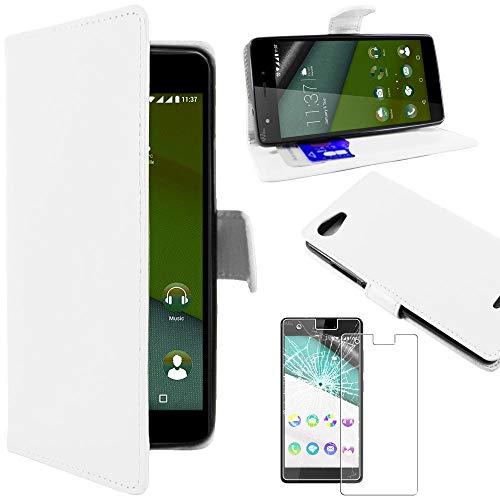 ebestStar - Coque Compatible avec Wiko Pulp 4G Etui PU Cuir Housse Portefeuille Porte-Cartes Support Stand, Blanc + Film Protection écran Verre Trempé [Appareil: 143.9 x 72 x 8.8mm, 5.0'']