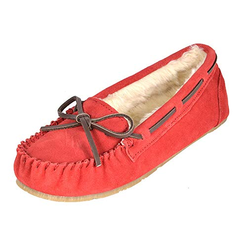 DREAM PAIRS Women's Shozie-01 Red Faux Fur Slippers Loafers Flats Shoes Size 11 M US