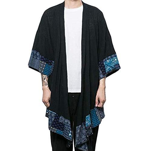 HZCX FASHION Men's Cotton Linen Long Kimono Jackets Open Front Cardigan Cloak(Black,M)