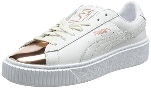 PUMA Damen Basket Platform Metallic Sneaker, Weiß (White-Rose Gold), 39 EU