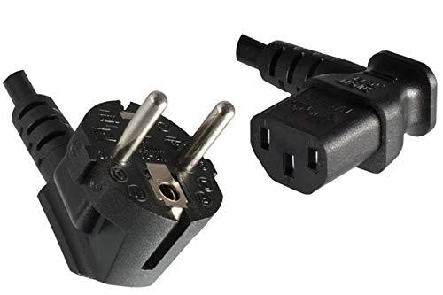 DINIC Stromkabel, Netzkabel CEE 7/7 auf C13 90 Grad abgewinkelt, 3-polig (1,80m, Links gewinkelt, schwarz)