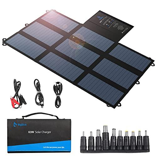 SunPower Solar Panel, BigBlue 63W Portable Solar Charger for Camping (Dual 5V USB+19V DC Output+USB-C), Foldable Waterproof Solar Charger for Power Station, Phone, Tablet, iPad, 12V Boat/RV Battery