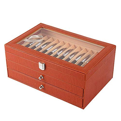 Fountain Pen Slot Display Case Holder Leather Collector Organizer Box Slot New Transparent Top for friends (36pens, Orange)