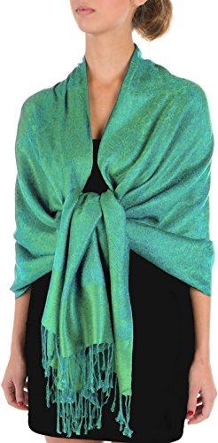 Sakkas Soft Pashmina Feel Paisley Design Schal / Stola - Blau/ Grün Paisley