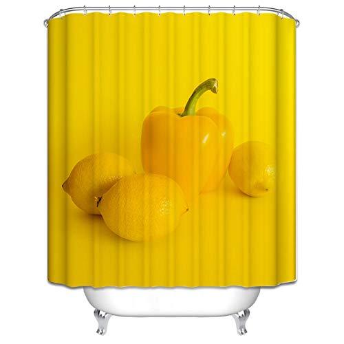 Amody Duschvorhang Textil Bunter Pfeffer Anti Schimmel Duschvorhang Größe 120x180CM Vorhänge Bad Fenster