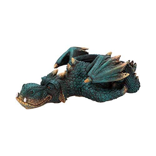 Nemesis Now Dozing Dragon Blumentopf, 31,8 cm, Kunstharz, Grün, Einheitsgröße