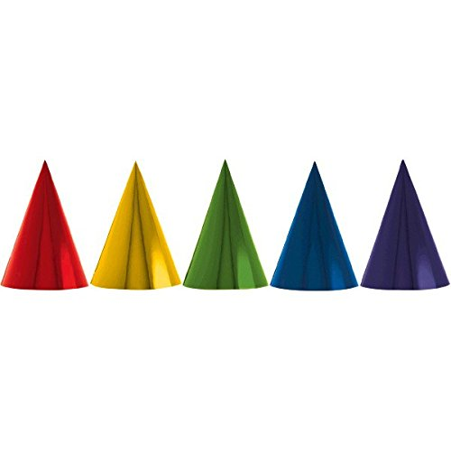 Fun Rainbow Birthday Party Foil Cone Hats , Pack of 12, Multi , 7' Foil