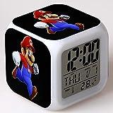 FDGFDG Neuer Super Mario Bros Wecker Leuchtende LED Farbwechsel Digitaler Wecker Für Kinder...