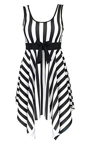 Women's One Piece Sailor Striped Bathing Suit Plus Size Cover up Swimdress, IT60/US26, 1-black