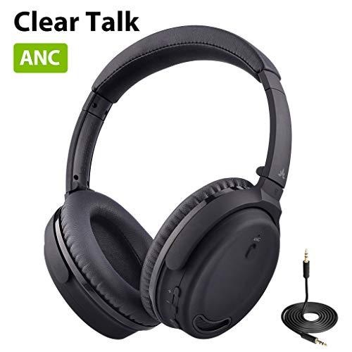 Avantree ANC032 Active Noise Cancelling hoofdtelefoon met oorschelpen en microfoon voor thuiskantoor, telkos, draadloos bekabeld ANC geluidsdicht Hi-Fi stereo Bluetooth headset met microfoon voor tv, pc, computer