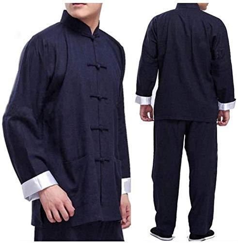 HLZY Uniformes Tradicionales Chinos de Tai Chi Kung Fu Classic Tai Chi Uniforme para Hombres Mujeres, Vintage ala China Chun Kung fu algodón algodón Seda marcial (Color : Blue, Size : XX-Large)