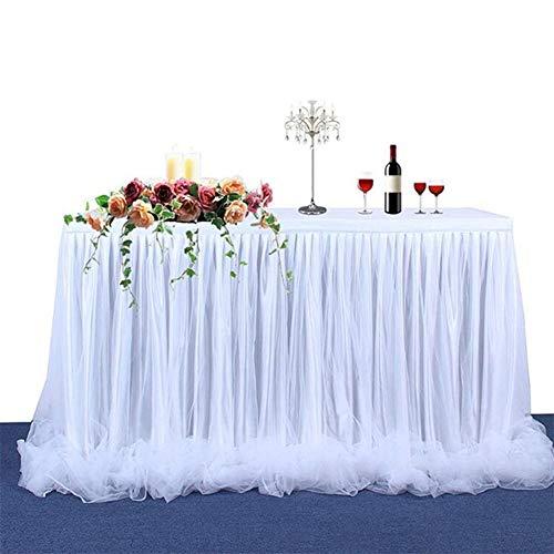 Miaouyo Tüll Tischrock Weiß Tischdecke Tutu Tisch Deko für festlich Hochzeit Baby Shower Kinder Geburtstag Verlobung Weihnachten Candy Bar Taufe Party Deko Tischdeko (Weiß, 183 x 78cm)
