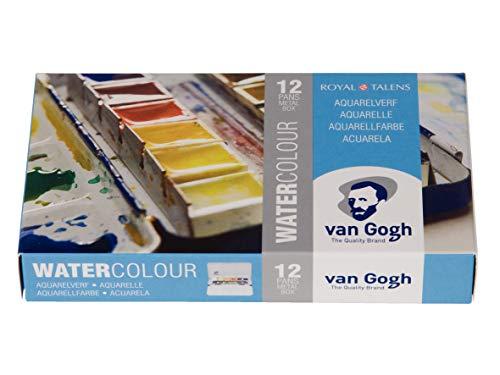 Aquarela Em Pastilha Van Gogh 12 Cores Estojo de Metal