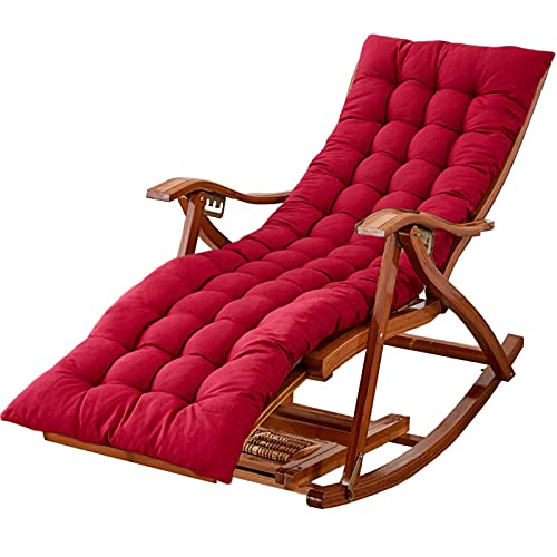 WGFGXQ Large Outdoor Rocking Chairs with Cushion, Foldable Bamboo Reclining Chair for Garden, Lawn, Balcony, Backyard, Patio, Porch Rocker (Color : Red)