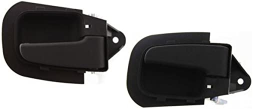 Interior Door Handles compatible with Set of 2 Front Left and Right Side Plastic Black