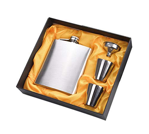 Menzy Easy Sip Stainless Steel Hip Flasks, Liquor or Wine Whiskey Alcohol Drinks Holder Pocket Bottle with Funnel and Two Shots Glasses Gift Set for Men - 7 Oz (210 ml)