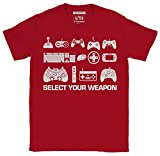 6TN Hombre Seleccione su Camiseta Divertida del Juego del Arma (Pequeña (S), Cardenal Rojo)