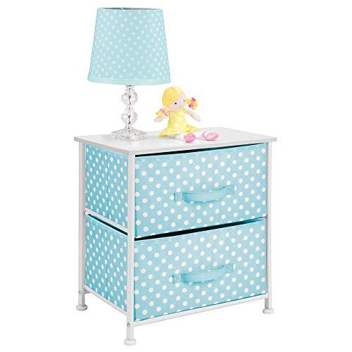 mDesign Mesa de luz infantil con 2 cajones – Organizador de armarios para niños de fibra...